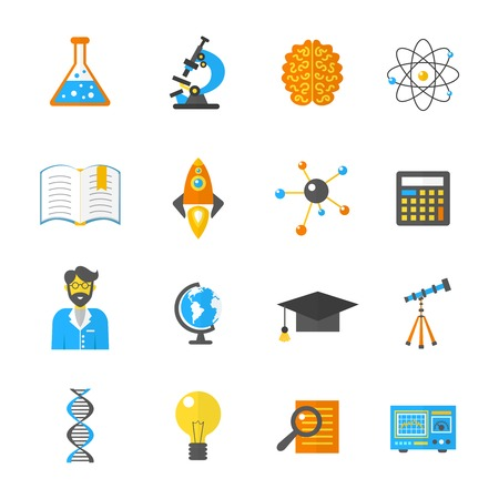 lab: Science laboratory and research equipment icon flat set isolated vector illustration Illustration