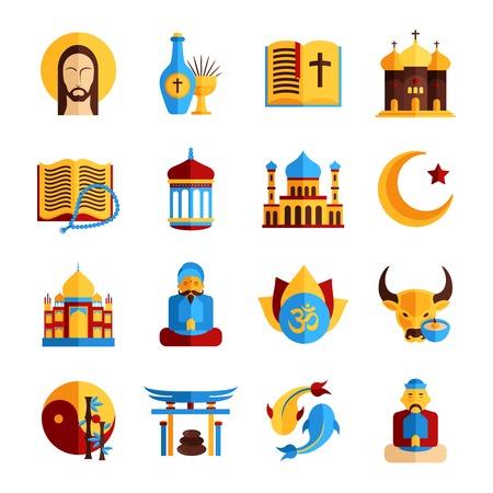 pez cristiano: Icono Religión establece con símbolos islámicos y cristianos orientales aislados ilustración vectorial Vectores
