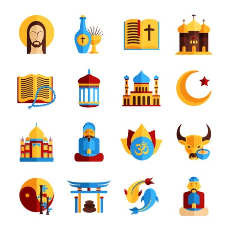 Religion icon set with christian islamic and oriental symbols isolated vector illustration Vector