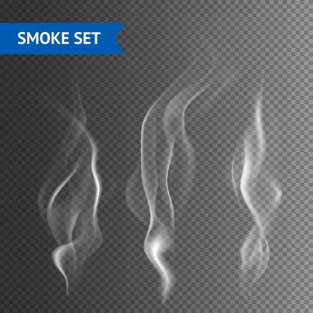 humo: Blancas olas de humo de cigarrillo delicadas en fondo transparente ilustraci�n vectorial