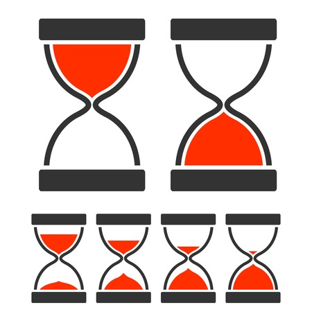 Sand glass timer concept with hourglass flat icons set isolated vector illustration Illustration