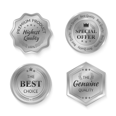 stamp collection: Silver metal genuine quality special offer badges set isolated vector illustration Illustration