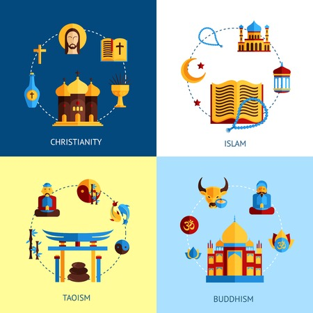 christian: Religion design concept set with christianity islam taoism buddhism flat icons isolated vector illustration