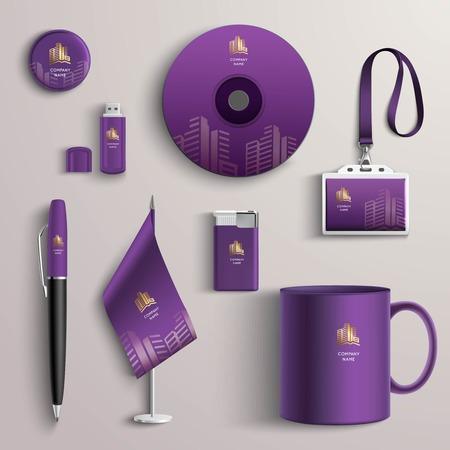 Corporate identity paarse ontwerp sjabloon met merkactiviteiten briefpapier set geïsoleerd vector illustratie Stock Illustratie