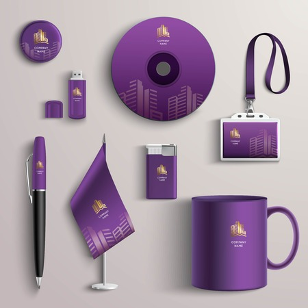 Corporate identity purple design template with branded business stationery set isolated vector illustration Illustration