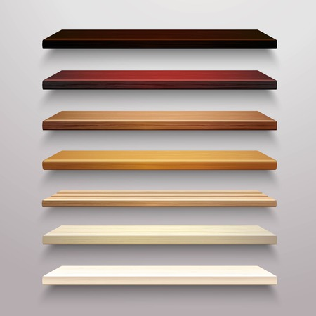 shelves: Realistic 3d multicolored retail store wooden shelves set isolated vector illustration