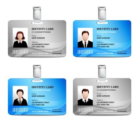 남성과 여성의 사진 템플릿 고립 된 벡터 일러스트와 함께 사용자 ID 카드 현실적인 세트