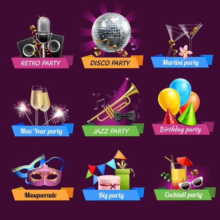Party emblems set with retro disco jazz birthday celebrations realistic elements isolated vector illustration Vector