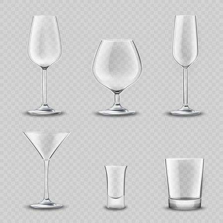 Bebidas vacías de alcohol cristalería transparente realista 3d conjunto aislado ilustración vectorial