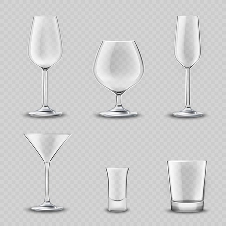 Empty alcohol drinks glassware transparent realistic 3d set isolated vector illustration