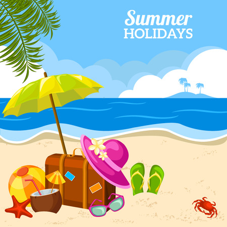 Beautiful summer seaside view poster with beach sunny day with sand umbrella and palm leaves holidays vector illustration. Çizim