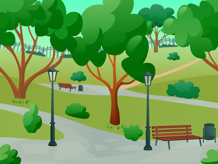 walk in the park: Summer park alley 2d game landscape flat background vector illustration