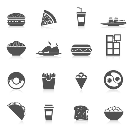 sandwitch: Fast food icons black set with sushi potato chips pizza and sandwitch isolated vector illustration
