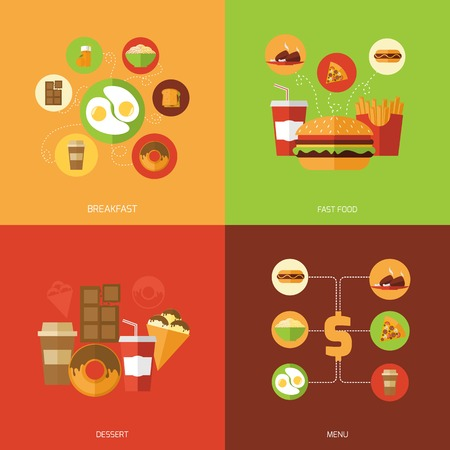 burger: Fast food design concept set with breakfast dessert menu flat icons isolated vector illustration Illustration