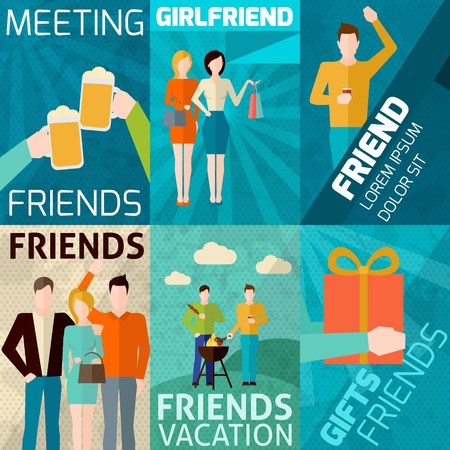 Friends relationships mini poster set with meeting vacations gifts isolated vector illustration