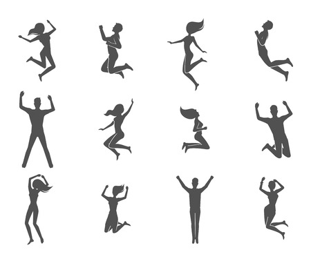 Jumping people male and female figures black characters set isolated vector illustration