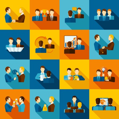business executive: Partnership flat icons set with business executive and employees isolated vector illustration Illustration