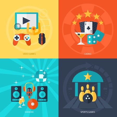 entertainment: Entertainment design concept set with video games casino karaoke sport flat icons isolated vector illustration