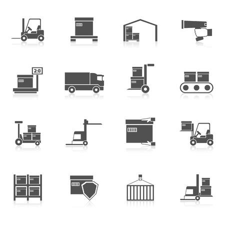 cadenas: Almacén iconos conjunto negro con símbolos de la cadena de transporte de suministro logístico aislados ilustración vectorial