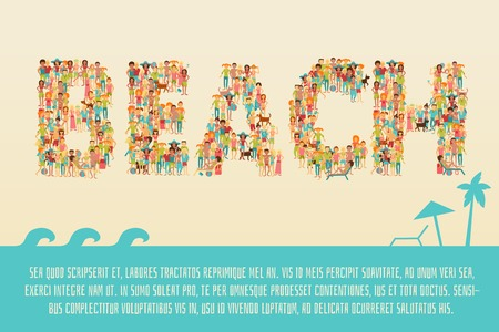 sand background: Summer vacation concept with group of people in beach lettering shape on sea sand background vector illustration