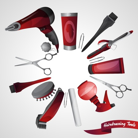 Barber shop concept with hairdresser accessory set isolated vector illustration