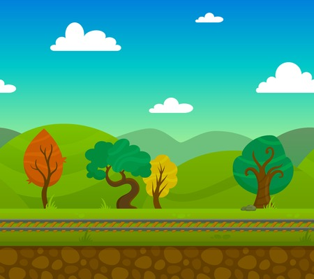 hill distant: Railway game 2d landscape with trees and hills on background flat vector illustration Illustration
