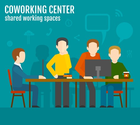 freelancer: Coworking center concept with creative work group people sitting at the table vector illustration Illustration
