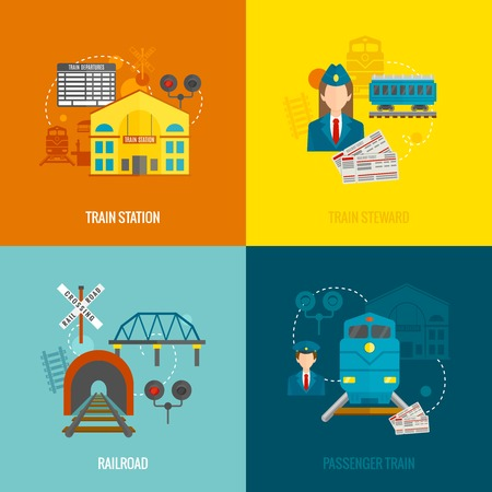 Railway design concept set with train station steward railroad passenger flat icons isolated vector illustration Illustration