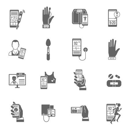 blood glucose: Digital health telemedicine doctor black icons set isolated vector illustration Illustration