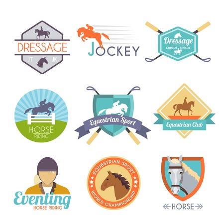 carreras de caballos: Etiqueta Jockey establece con emblemas del club deporte doma del caballo aislado ilustración vectorial