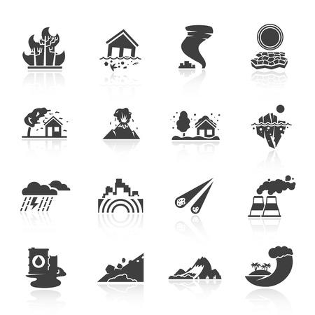 Natuurramp pictogrammen zwart set met tsunami sneeuw onweer geïsoleerde vector illustratie