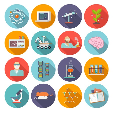 biologia: Ciencia y química biología y la física icono investigación plana conjunto aislado ilustración vectorial