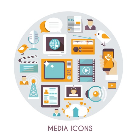 Mass media concept with social blog multimedia industry icons set vector illustration