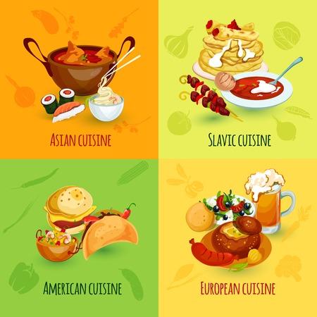 negocios comida: Mundial concepto de diseño de alimentos establece con asiáticos eslavos americanos iconos de la cocina europea aislado ilustración vectorial