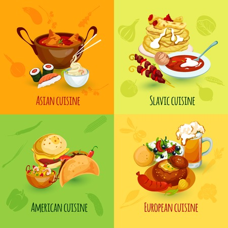 russian cuisine: World food design concept set with asian slavic american european cuisine icons isolated vector illustration Illustration