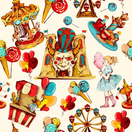 Amusement park hand drawn seamless pattern with family attractions and sweets vector illustration Illustration