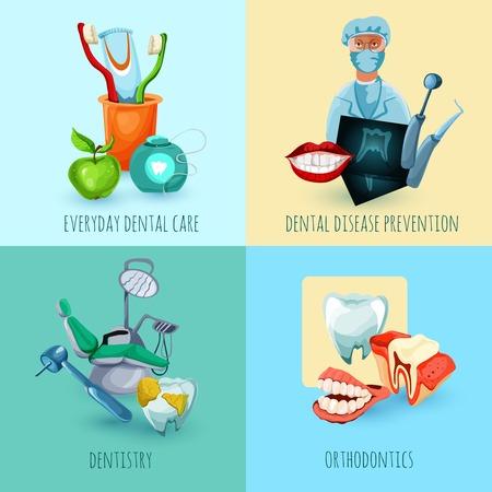 disease prevention: Estomatolog�a concepto de dise�o establece con enfermedad dental todos los d�as de atenci�n de odontolog�a y ortodoncia prevenci�n iconos ilustraci�n vectorial aislado