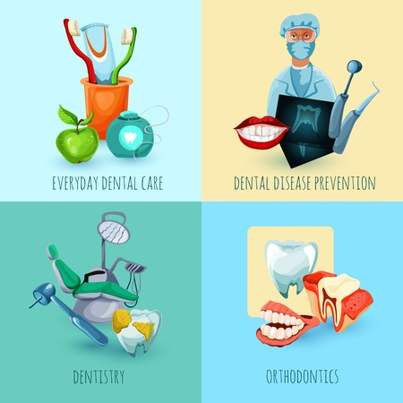 everyday people: Stomatology design concept set with everyday dental care disease prevention dentistry and orthodontics icons isolated vector illustration