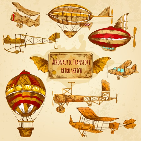 Vintage steampunk aviation colored sketch decorative icons set with zeppelin balloon and airplane isolated vector illustration Illustration