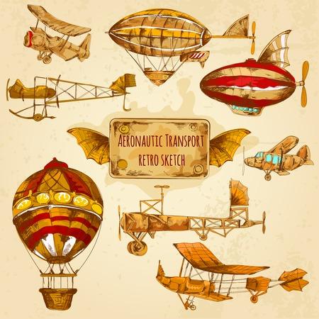 Weinlese Steampunk Luftfahrt farbige Skizze dekorative Icons mit Zeppelin-Ballon und Flugzeug isolierten Vektor-Illustration gesetzt