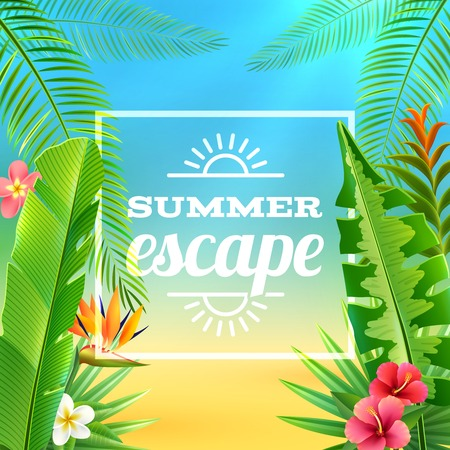 Tropical plants background with exotic flowers and summer excape text vector illustration