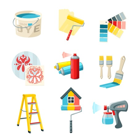 Painting work decorative icons set with bucket roller color palette isolated vector illustration Çizim