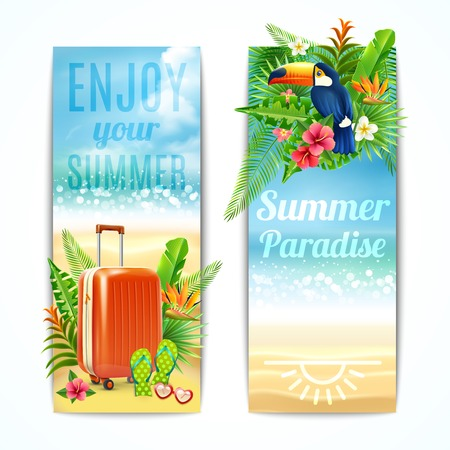 suitcase: Travel vertical banners set with vacation suitcase exotic leaves and toucan bird isolated vector illustration Illustration