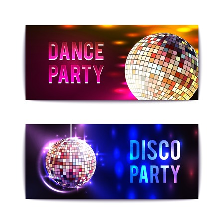 discoball: Disco party with glass ball spheres banners horizontal set isolated vector illustration