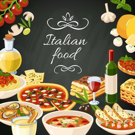 chef italiano: Fondo de alimentos restaurante italiano con espagueti ajo aceitunas de pasta de pizza ilustración vectorial