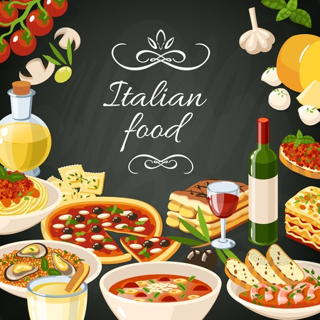 Italian restaurant food background with olives pasta garlic spaghetti pizza vector illustration Stock Illustratie