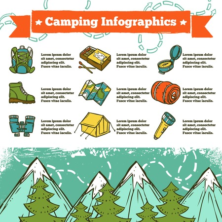 boot camp: Camping infographics sketch set with outdoor recreation icons and mountains on background vector illustration Illustration