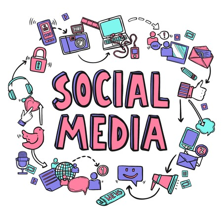 medios de comunicación social: Concepto de diseño de los medios de comunicación social con dibujado a mano conversación iconos ilustración vectorial