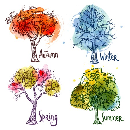 four season: Watercolor year seasons tree decorative icons set isolated vector illustration Illustration