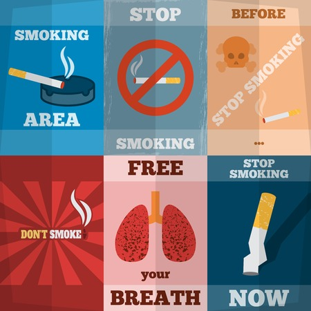 habit: Stop smoking unhealthy habit flyers mini poster set isolated vector illustration Illustration